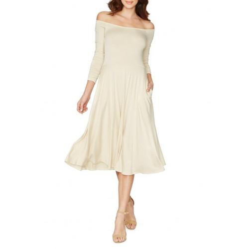 uzun kollu omuz açık dizaltı elbise