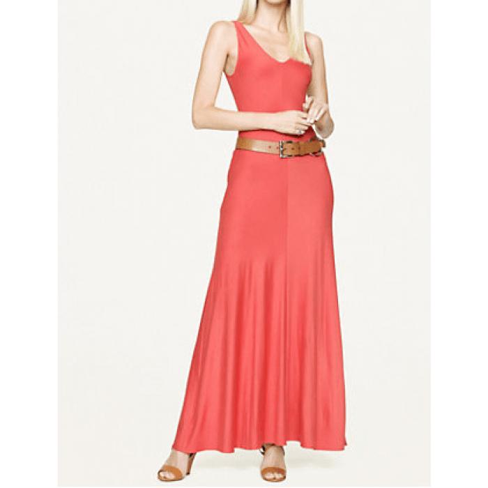 v yaka askılı uzun elbise