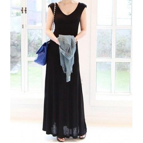 vatkalı kolsuz uzun elbise