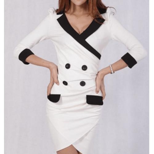 yakalı beyaz kruvaze elbise