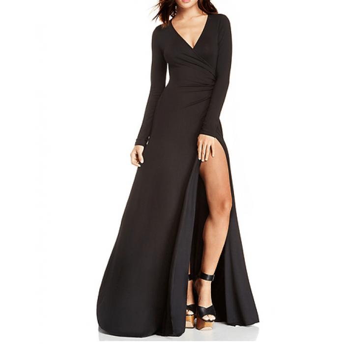 yandan bağlamalı uzun kol  kruvaze elbise